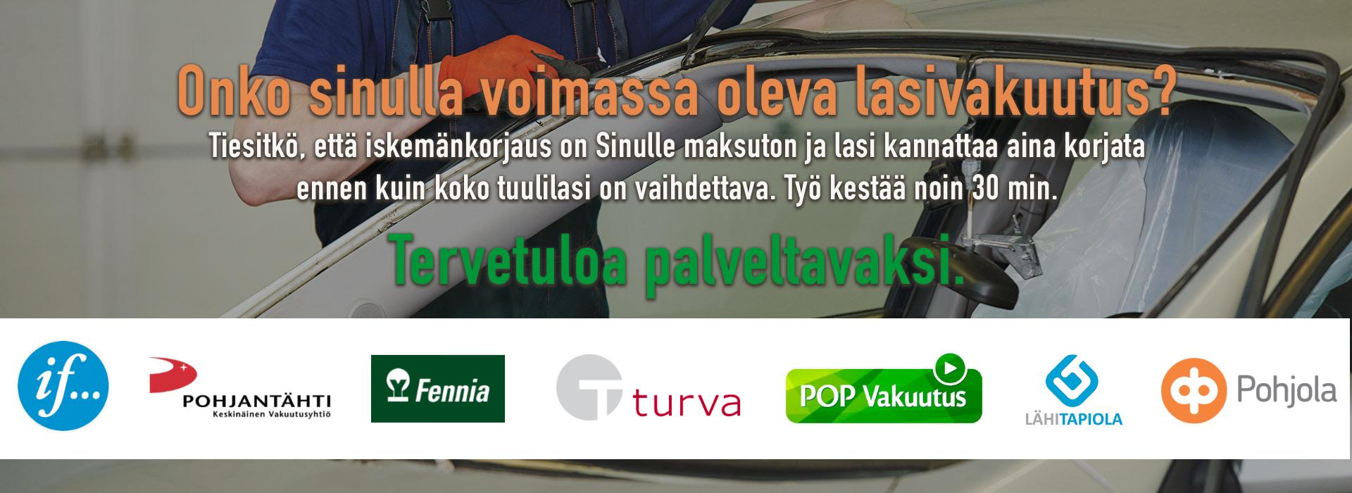 Vakuutusyhtiöiden hyväksymä tuulilasikorjaamo Tampereella
